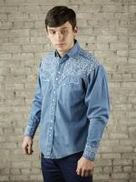 B Rockmount Ranch Wear Men's Vintage Western Shirt: Fancy Tooling Design Denim 2X Backordered