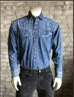 B Rockmount Ranch Wear Men's Vintage Western Shirt: Fancy Tooling Design Denim Backordered