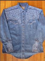 Rockmount Ranch Wear Men's Vintage Western Shirt: A Fancy Tooling Design Denim Back Ordered