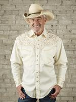 B Rockmount Ranch Wear Men's Vintage Western Shirt: Fancy Tooling Design Ivory Tan 2X Backordered