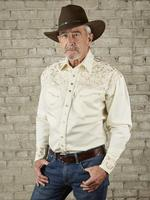 Rockmount Ranch Wear Men's Vintage Western Shirt: Fancy Tooling Design Ivory Tan 2X