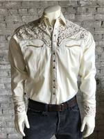 B Rockmount Ranch Wear Men's Vintage Western Shirt: Fancy Tooling Design Ivory Tan Backordered
