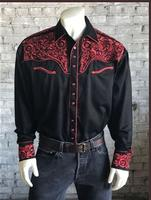 Rockmount Ranch Wear Men's Vintage Western Shirt: Fancy Tooling Design Black Red