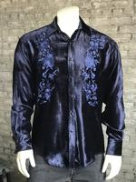Rockmount Ranch Wear Men's Vintage Western Shirt: A A Embroidered Velvet Navy