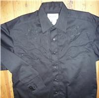 ZSold Rockmount Ranch Wear Men's Vintage Western Shirt: Fancy Tone on Tone Lotus Flower Black S-XL SOLD