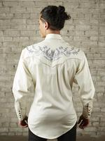 Rockmount Ranch Wear Men's Vintage Western Shirt: Fancy Horseshoe and Floral Ivory 2X