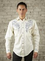 Rockmount Ranch Wear Men's Vintage Western Shirt: Fancy Horseshoe and Floral Ivory