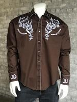 B Rockmount Ranch Wear Men's Vintage Western Shirt: Fancy Horseshoe and Floral Brown 2X Backordered