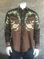 Rockmount Ranch Wear Men's Vintage Western Shirt: A Floral Two Tone Brown 2X