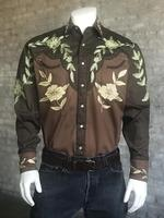 Rockmount Ranch Wear Men's Vintage Western Shirt: A Floral Two Tone Brown