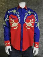 Rockmount Ranch Wear Men's Vintage Western Shirt: A Floral Two Tone  Red 2X
