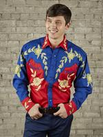 Rockmount Ranch Wear Men's Vintage Western Shirt: A Floral Two Tone Red