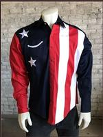 Rockmount Ranch Wear Men's Vintage Western Shirt: Fancy Show Your Colors Flag Shirt S-XL