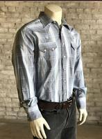 ZSold Rockmount Ranch Wear Men's Western Shirt: A Stripe Cotton Hombre Blue 2X and Talls Backordered