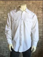 Rockmount Ranch Wear Men's Western Shirt: Dress Shirt Rib White on White 2X