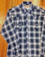 Rockmount Ranch Wear Men's Vintage Western Shirt: Shadow Plaid Horse Shoes on Blue S-2XL