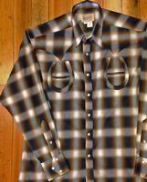 Rockmount Ranch Wear Men's Vintage Western Shirt: Shadow Plaid Horse Shoes on Brown S-2XL