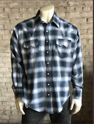 Rockmount Ranch Wear Men's Western Shirt: A Shadow Plaid Blue Back Ordered