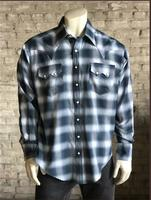 Rockmount Ranch Wear Men's Western Shirt: A Shadow Plaid Blue 2XL-3XL, Tall