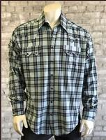 Rockmount Ranch Wear Men's Western Shirt: A Shadow Plaid Turquoise Black 2XL