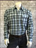 Rockmount Ranch Wear Men's Western Shirt: A Shadow Plaid Turquoise Black S-XL