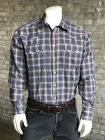 ZSold Rockmount Ranch Wear Men's Western Shirt: A Plaid Blue & Brown SOLD