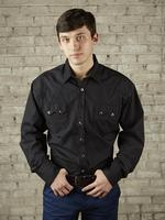 Rockmount Ranch Wear Men's Western Shirt: Dress Shirt Pima Cotton Black Backordered