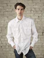 Rockmount Ranch Wear Men's Western Shirt: Dress Shirt Pima Cotton White with White Snaps Talls-2X-4X Backordered