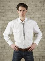 Rockmount Ranch Wear Men's Western Shirt: Dress Shirt Pima Cotton White with White Snaps Backordered