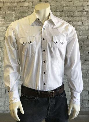 Rockmount Ranch Wear Men's Western Shirt: Dress Shirt Pima Cotton White with Black Snaps