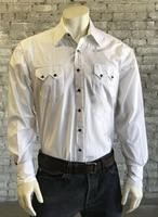 Rockmount Ranch Wear Men's Western Shirt: Dress Shirt Pima Cotton White with Black Snaps Talls-2X