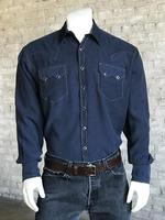 Rockmount Ranch Wear Men's Western Shirt: Sueded Tencel Navy Backordered