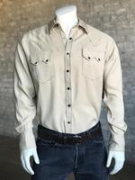 Rockmount Ranch Wear Men's Western Shirt: Sueded Tencel Taupe