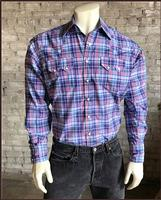 Rockmount Ranch Wear Men's Western Shirt: A Plaid Cotton Blend Blue S-2XL