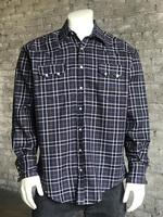 Rockmount Ranch Wear Men's Western Shirt: A Plaid Check Navy 2X