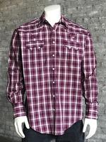 Rockmount Ranch Wear Men's Western Shirt: A Plaid Pima Cotton  Plum 2X