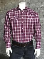 Rockmount Ranch Wear Men's Western Shirt: A Plaid Pima Cotton Plum