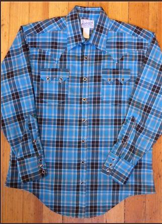 Rockmount Ranch Wear Men's Western Shirt: A Plaid Rayon Blend Turquoise Black S-XL