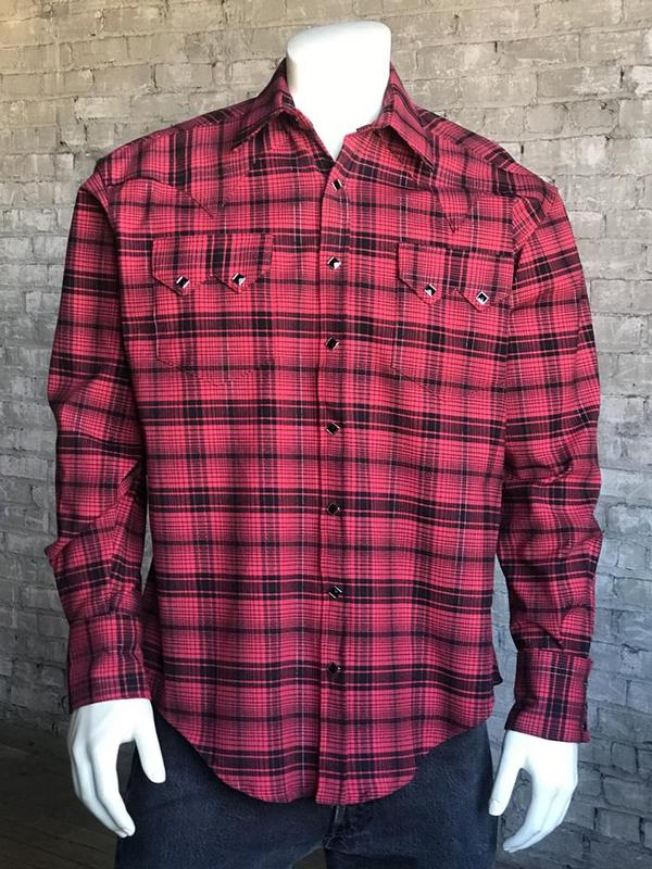 Rockmount Ranch Wear Men's Western Shirt: A Plaid Cotton Red 2X