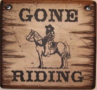 Cowboy Brand Furniture: Wall Sign-Horses-Gone Ridin'