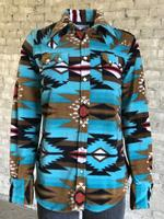 Rockmount Ranch Wear Ladies' Western Shirt: Print Warm Flannel  Native American Turquoise