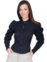 ZSold Scully Ladies' Old West Blouse: Wahmaker Victorian Floral Print Black M SOLD