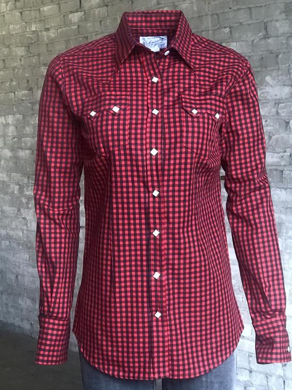 Rockmount Ranch Wear Ladies' Western Shirt: Print  Buffalo Check Red Black 2X