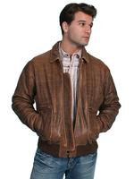 Scully Men's Leather Jacket: Casual Lambskin Bomber Antique Brown