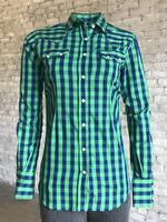 Rockmount Ranch Wear Ladies' Western Shirt: Print Buffalo Check Blue Green