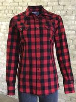 ZSold Rockmount Ranch Wear Ladies' Western Shirt: Print Buffalo Check Red SOLD