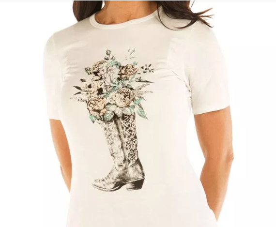 Liberty Wear Top: Boot Full of Roses Ivory