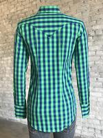 Rockmount Ranch Wear Ladies' Western Shirt: Print Buffalo Check Blue Green 2X