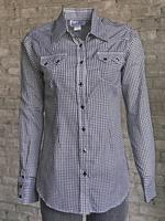 Rockmount Ranch Wear Ladies' Western Shirt: Gingham Check Black Backordered