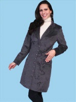 ZSold Scully Ladies' Old West Jacket: Wahmaker Frock Coat Notched Lapel Velvet Plum 8-12 SOLD